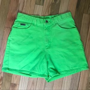 Lee High Waist Mom Jean Shorts 14 Neon Green Retro